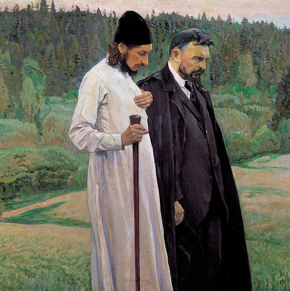 Pavel passeggia con l'amico Bulgakov, in un quadro di Mikhail Nesterov