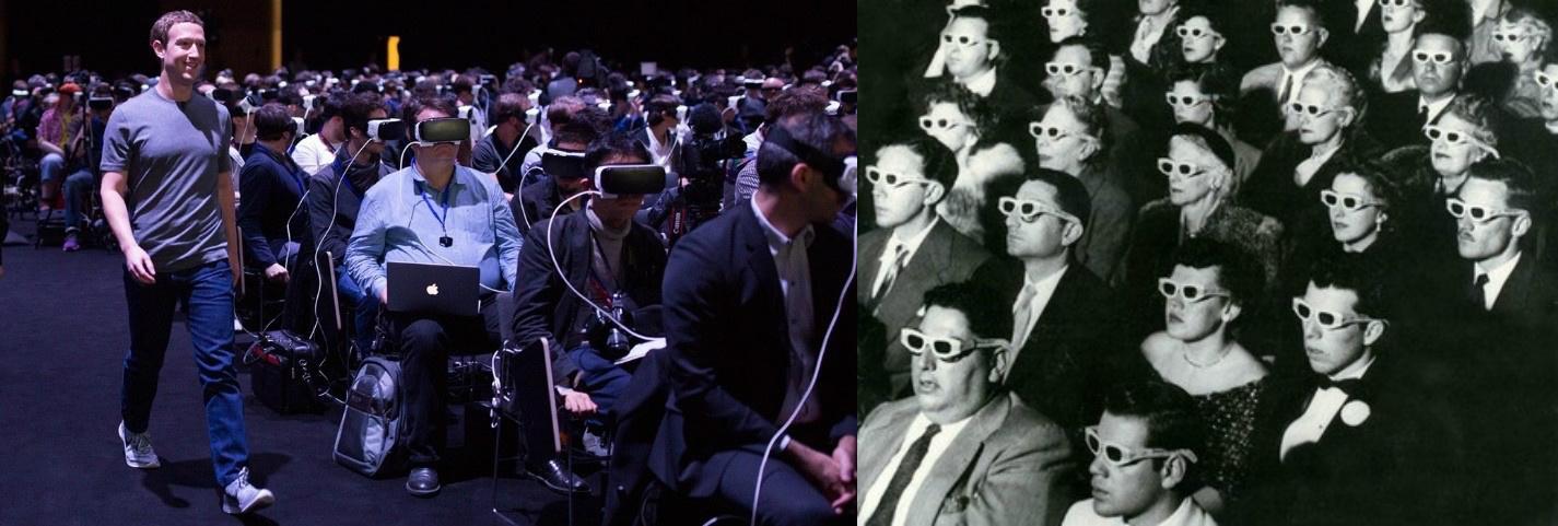 Una presentazione di visori VR con il CEO di Facebook, Marc Zuckerberg/ Immagine da Guy Debord, La société du spectacle (1973)