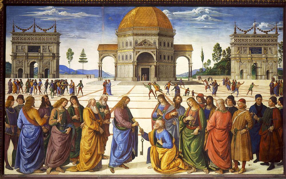 """Figura 2: La 'Consegna delle chiavi """"del Perugino (1481-1482)"""