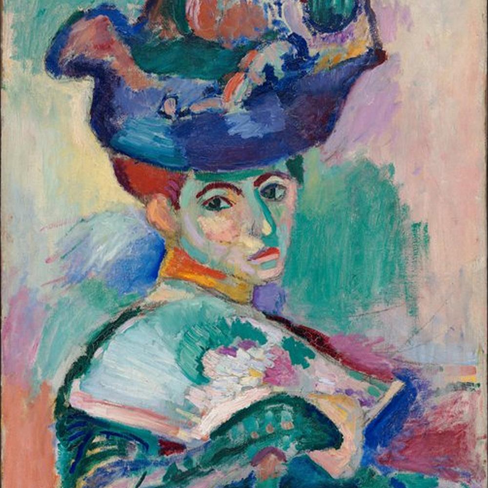 Figura 4: Particolare da donna con un cappello (1905). Henri Matisse introduce un altro tipo di prospettiva, in cui ci muoviamo nello spazio del colore. Foto: Wikimedia.